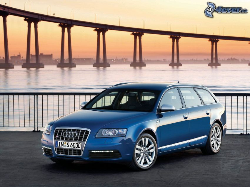 Audi S6, bridge, sea