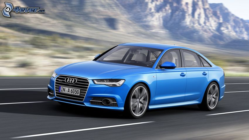 Audi S6, road, speed, mountain