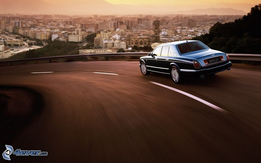 Bentley, speed, view of the city, road curve
