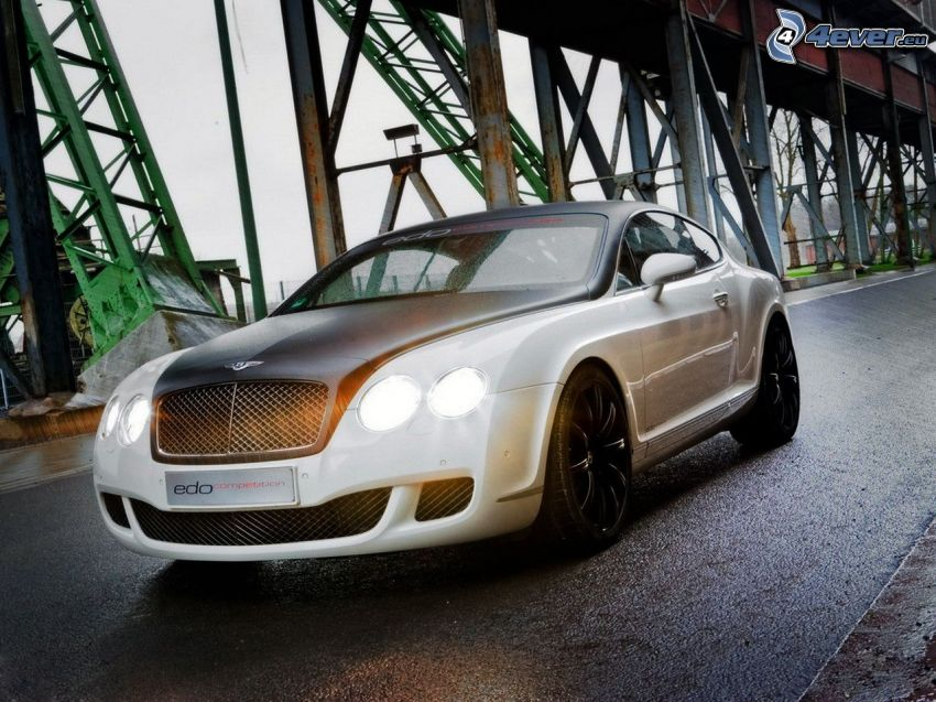 Bentley, under the bridge, lights, road