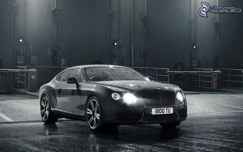 Bentley Continental, lights, black and white