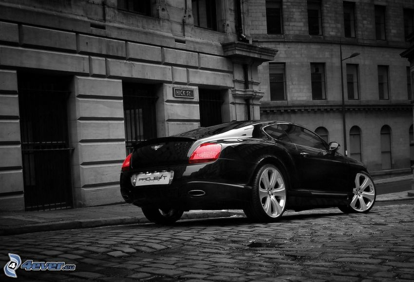 Bentley Continental, street, pavement, building