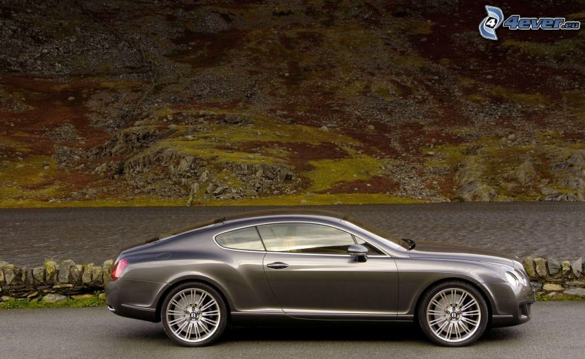 Bentley Continental GT, River, hill