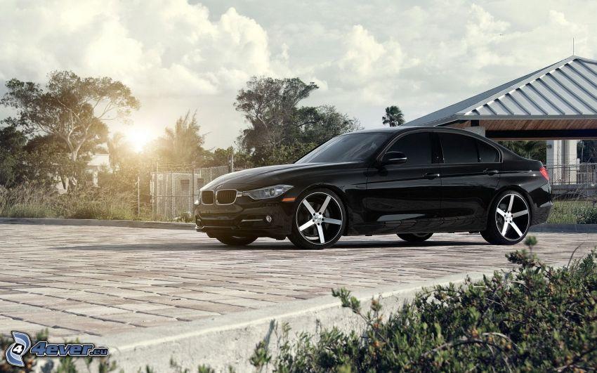 BMW 3 F30, house, road