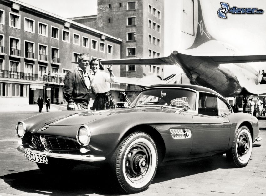 BMW 507, oldtimer, man and woman, aircraft, house, black and white photo