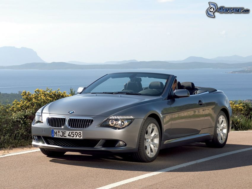 BMW 6 Series, convertible, road, sea