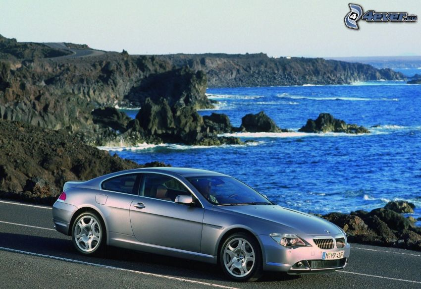 BMW 6 Series, rocky shores, road