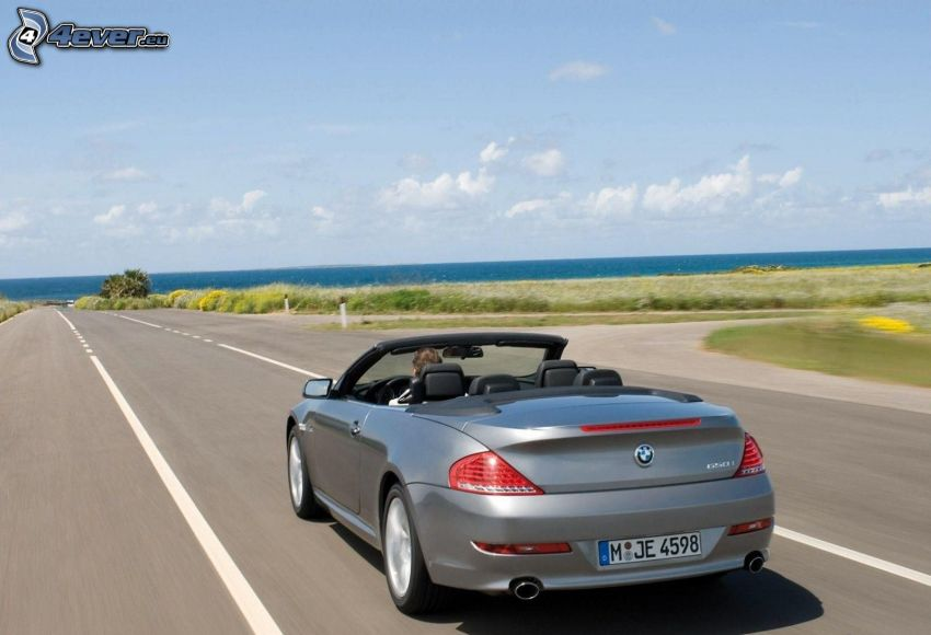 BMW E63, convertible, road, speed