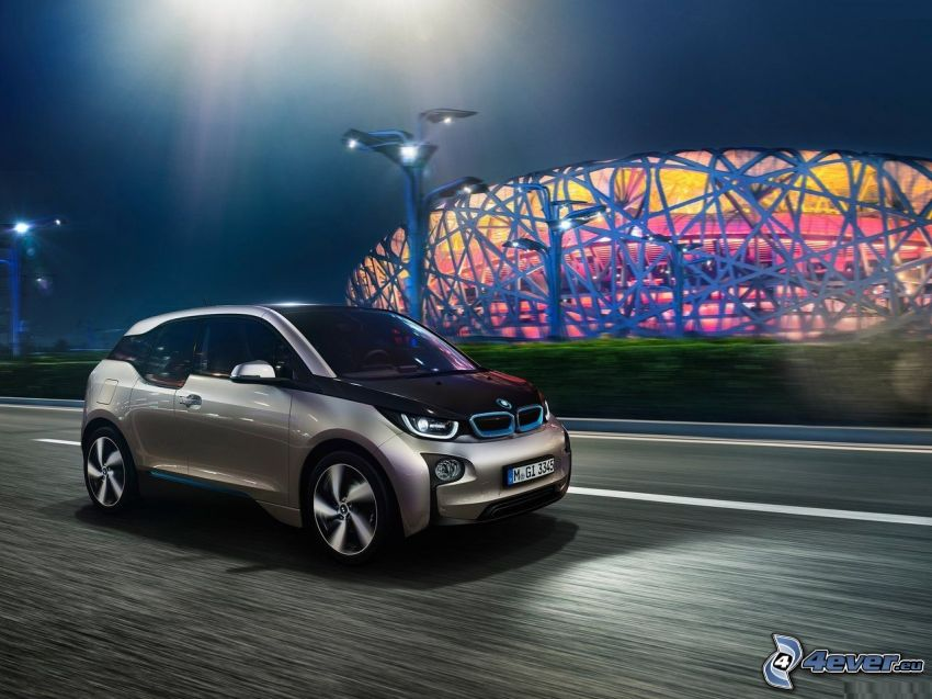 BMW i3, night, road, stadium