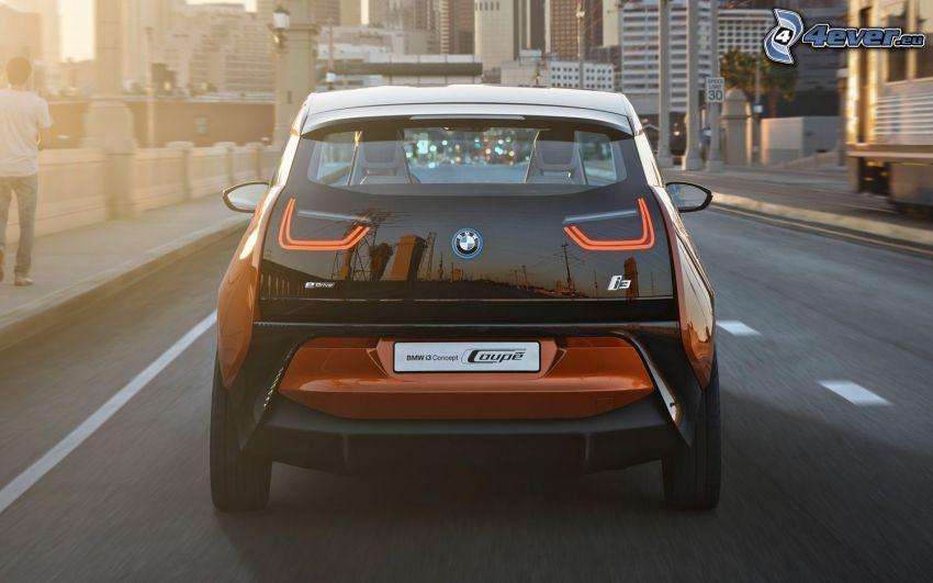 BMW i3, road, wall, sunset, city