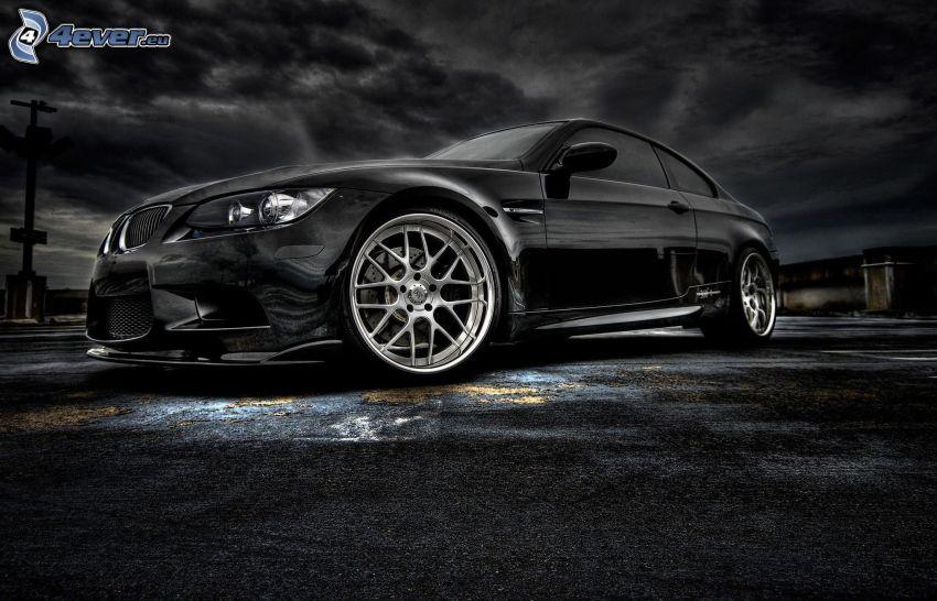 BMW M3, black and white photo