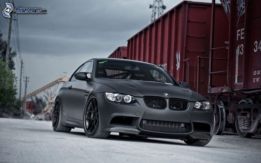 BMW M3, freight train