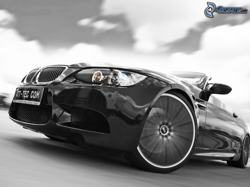BMW M3, front grille, reflector, wheel, rim, black and white