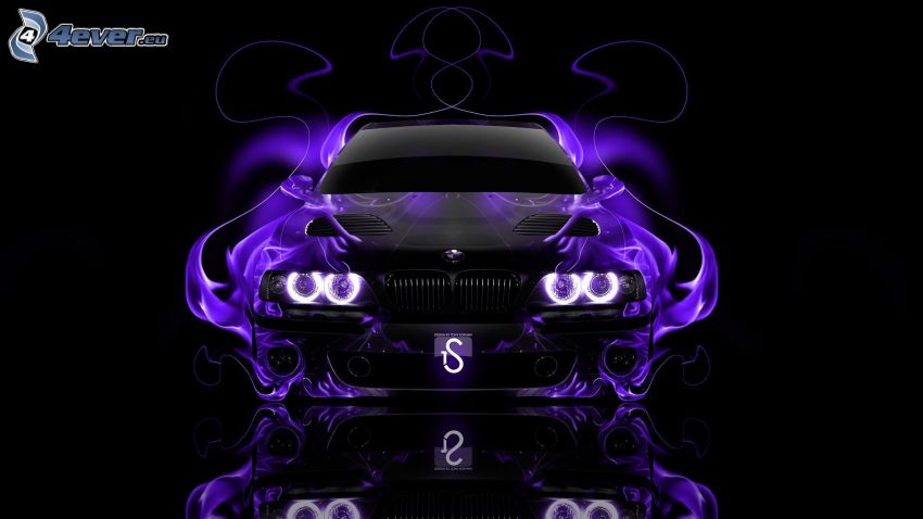 BMW M5, flames, neon