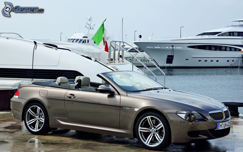 BMW M6, convertible, harbor, ships