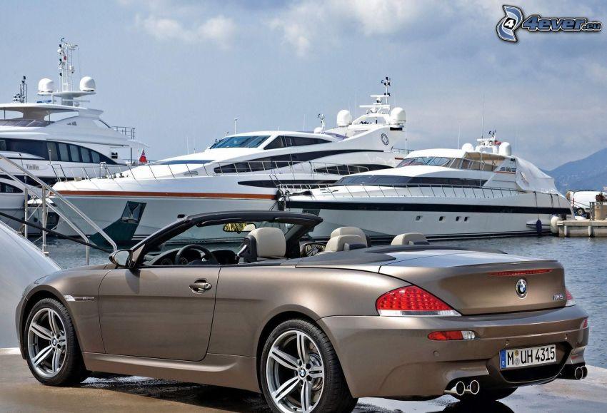 BMW M6, convertible, yachts, harbor