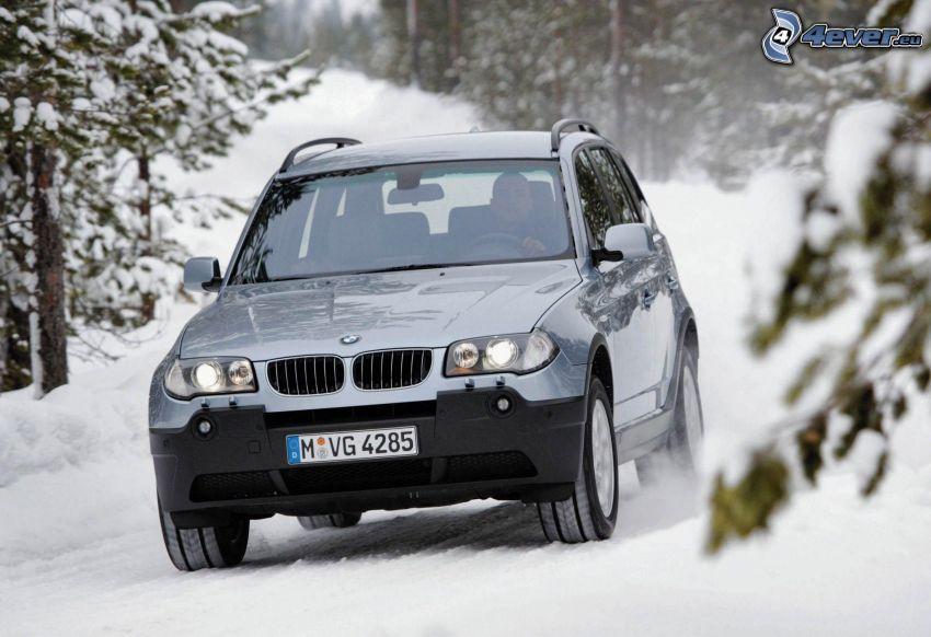 BMW X3, SUV, snow
