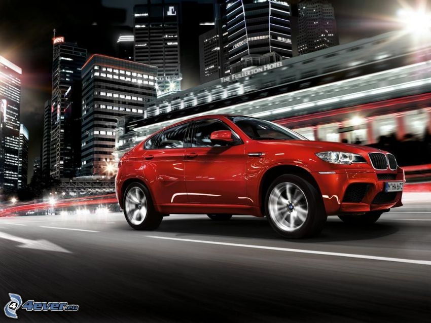 BMW X6, night city