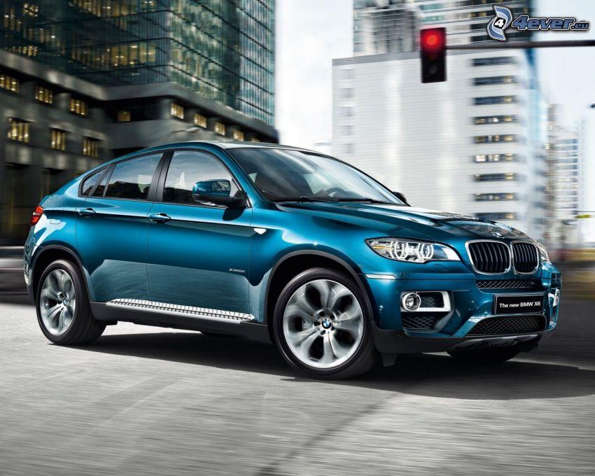 BMW X6, speed, city, red