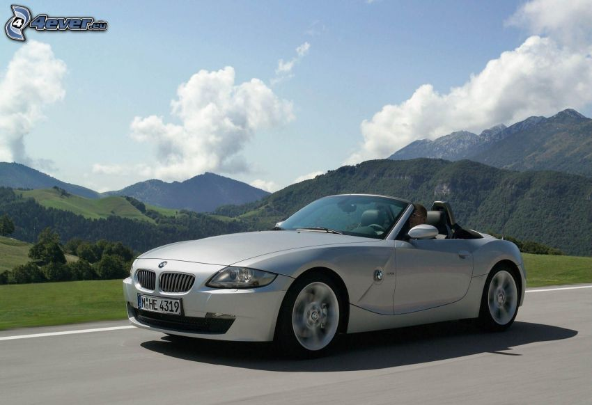 BMW Z4, convertible, speed, hills