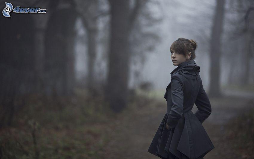 brunette, forest
