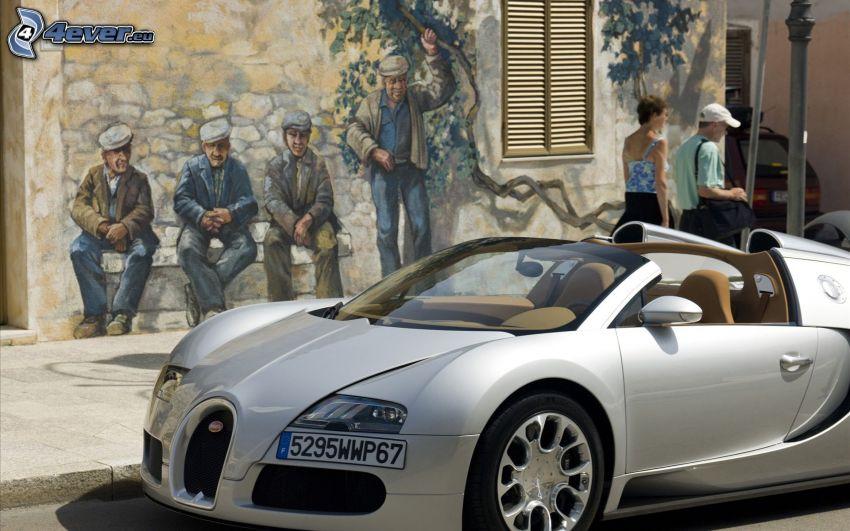 Bugatti Veyron, graffiti, people
