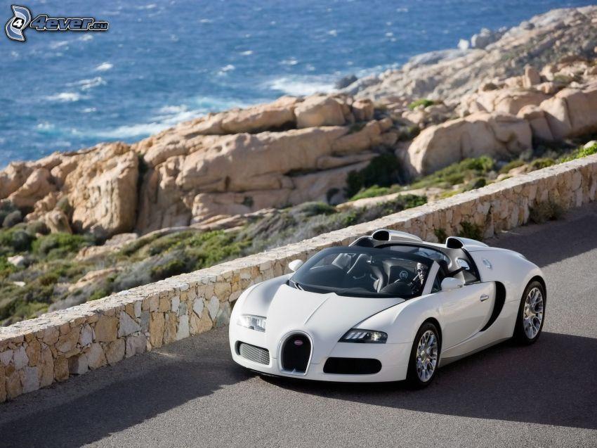 Bugatti Veyron 16.4, wall, rocks, sea