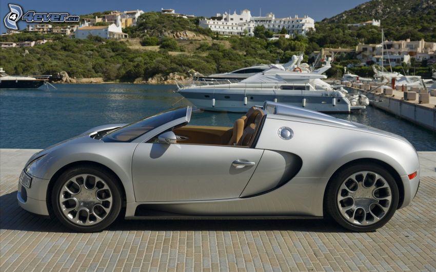 Bugatti Veyron 16.4 Grand Sport, convertible, harbor, seaside town