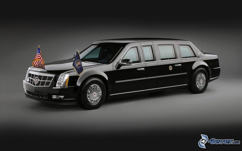 Cadillac, limousine, flags, american flag