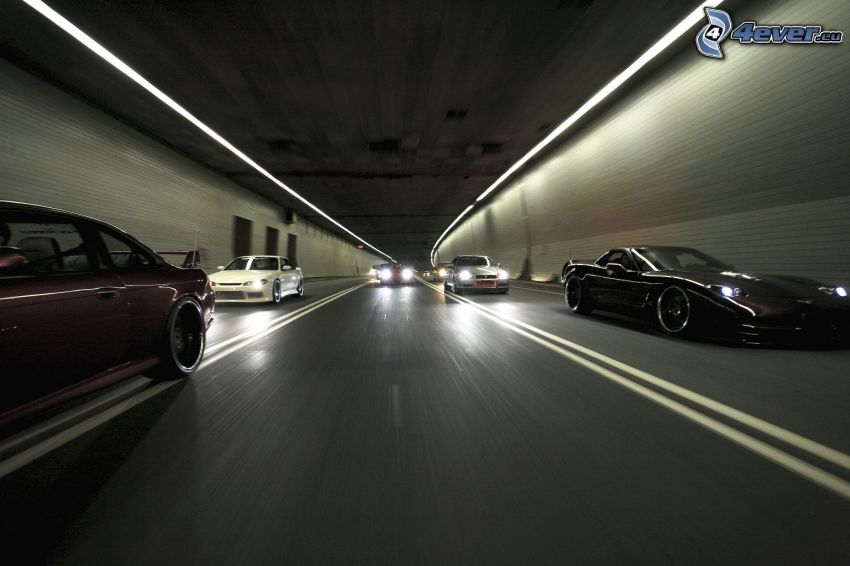 cars, speed, tunnel, lights