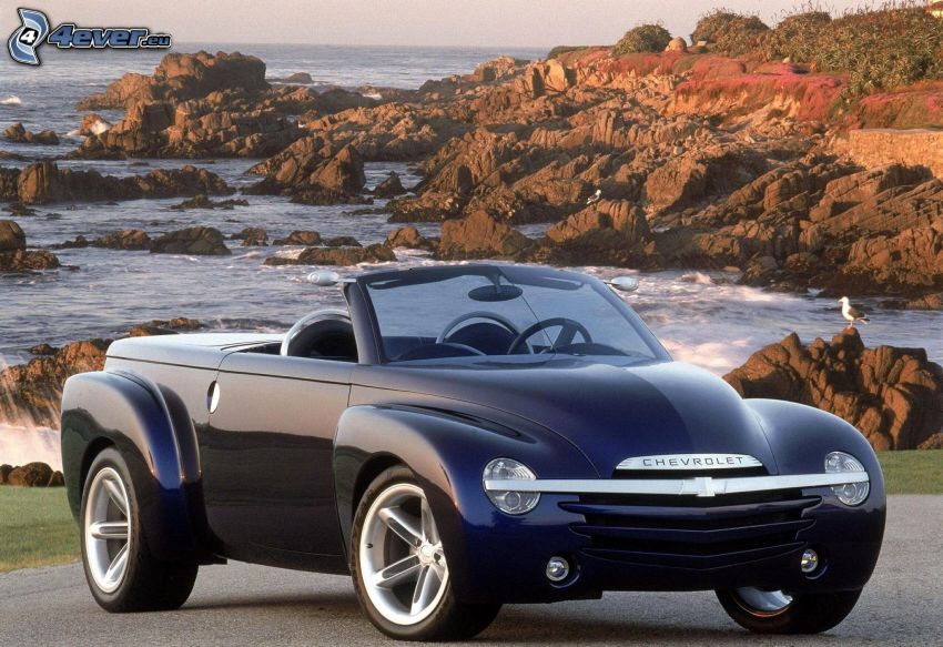 Chevrolet, convertible, rocks in the sea