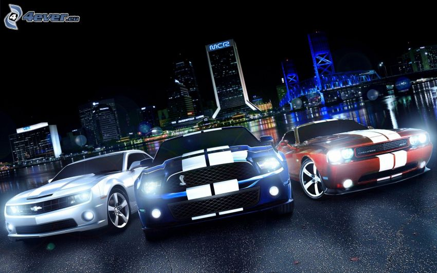 Chevrolet Camaro, Ford Mustang Shelby, Dodge Challenger, lights, night city