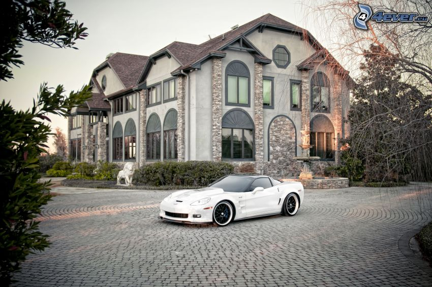 Chevrolet Corvette, house, pavement