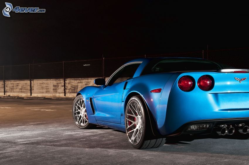 Chevrolet Corvette, taillight, night