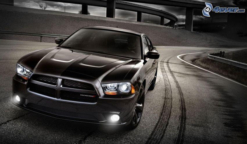 Dodge Charger, lights, road