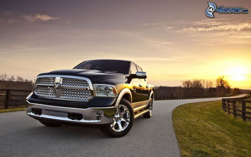 Dodge ram, evening sky, evening road