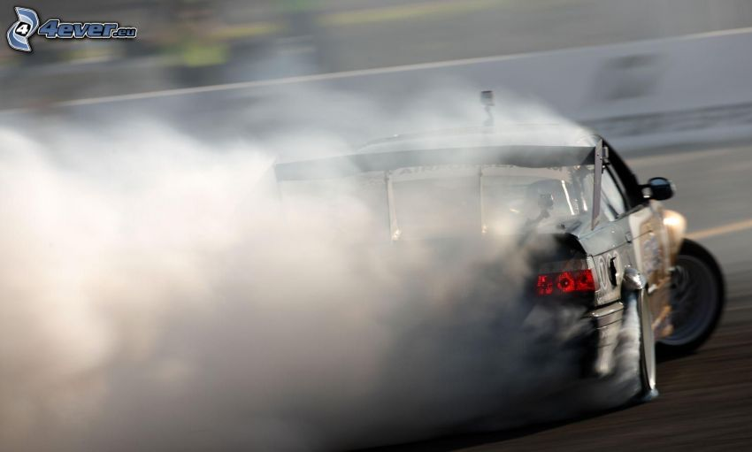 drifting, smoke, racing car