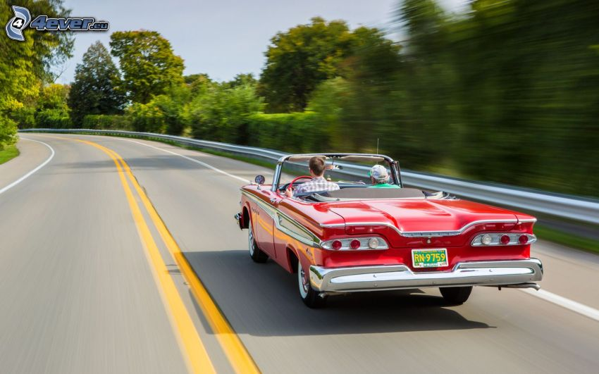 Edsel Corsair, speed, road, road curve, oldtimer