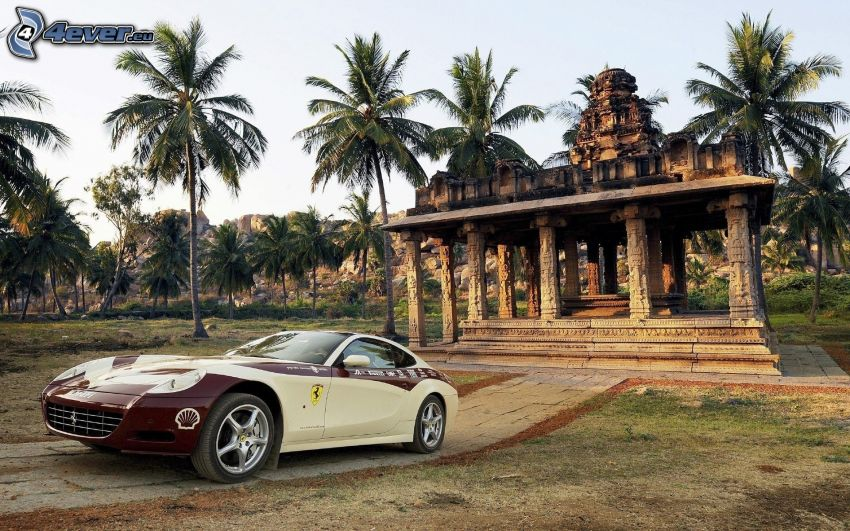 Ferrari, building, palm trees