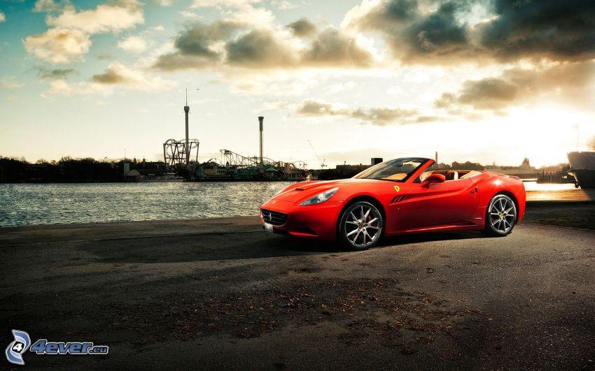 Ferrari, convertible, clouds