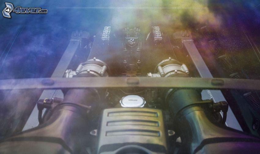 Ferrari, engine, smoke