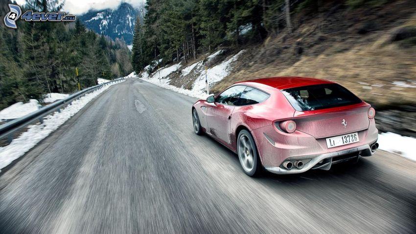 Ferrari, road through forest, speed