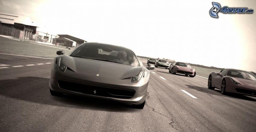 Ferrari 458 Italia, black and white