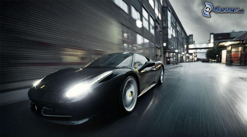Ferrari 458 Italia, lights, speed