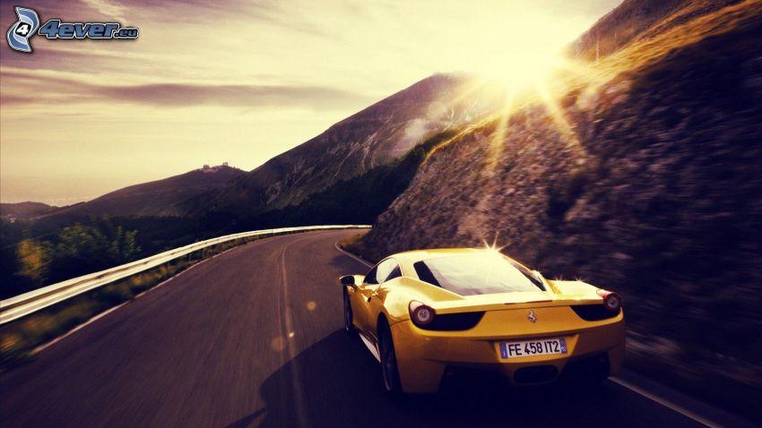Ferrari 458 Italia, road, sunset behind the mountains