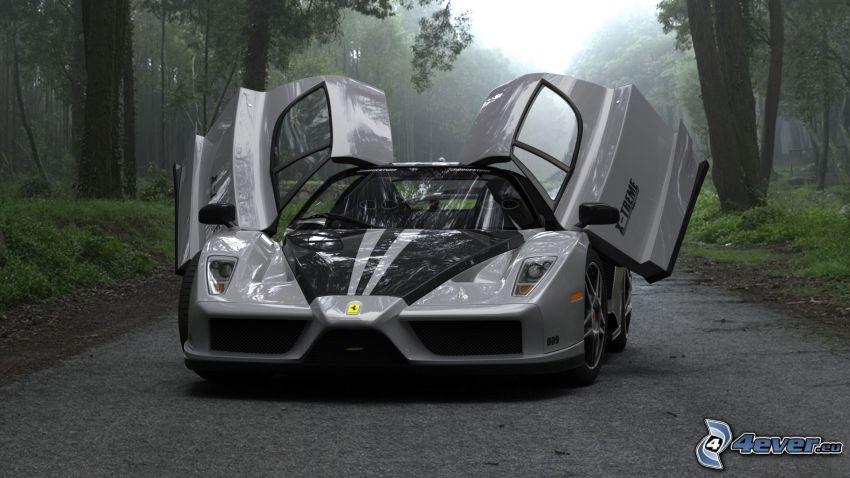 Ferrari Enzo, door, road through forest