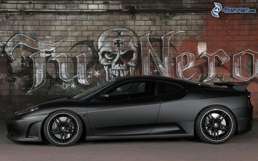 Ferrari F40, brick wall, graffiti, skull