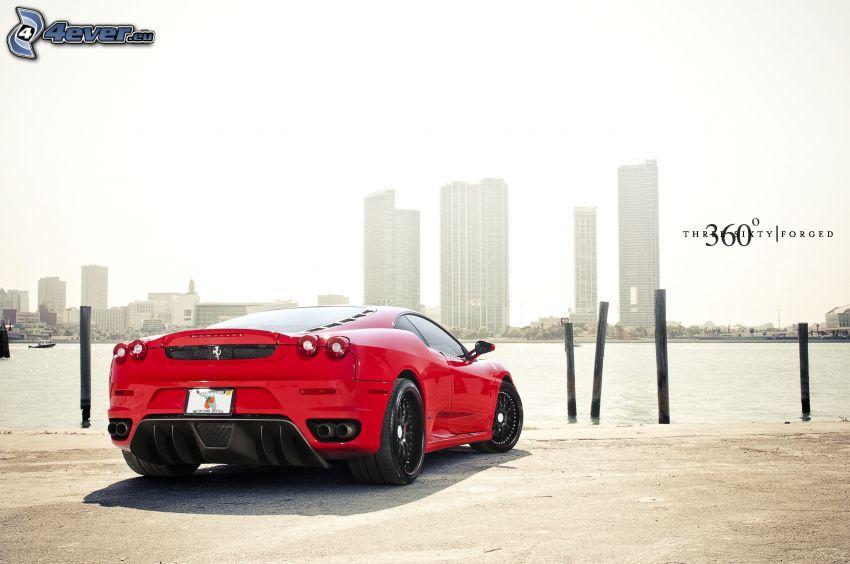 Ferrari F430, River, skyscrapers