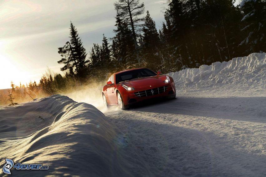 Ferrari FF, snow, forest