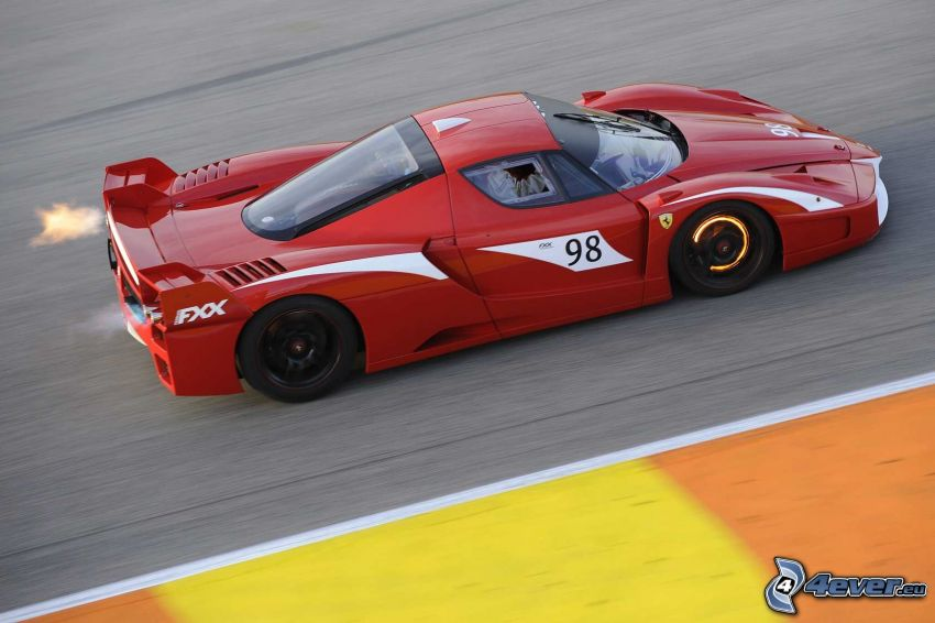 Ferrari FXX, speed, fire